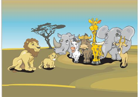 african animals cartoon   vector art stock