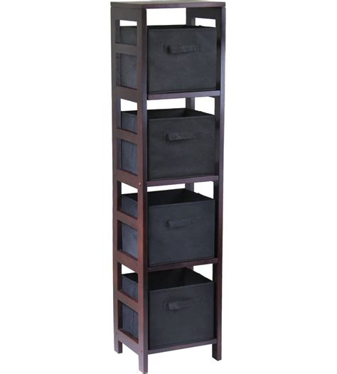Basket Bookcase by 4 Basket Storage Shelf Bookcase In Shelves With Baskets