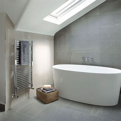 grey  cream tiled modern bathroom spa style bathroom