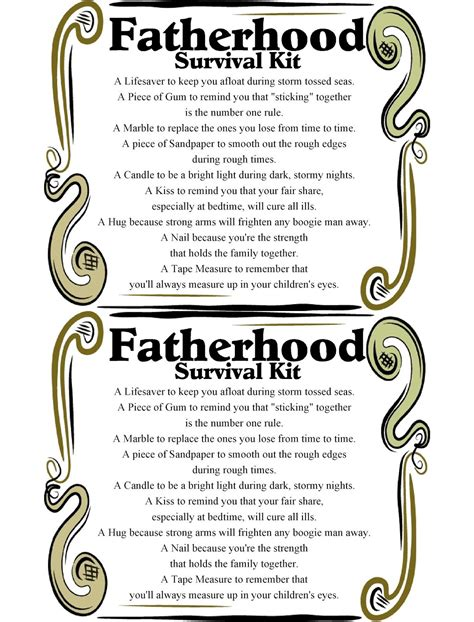 fatherhood survival kit printable fathers day printables