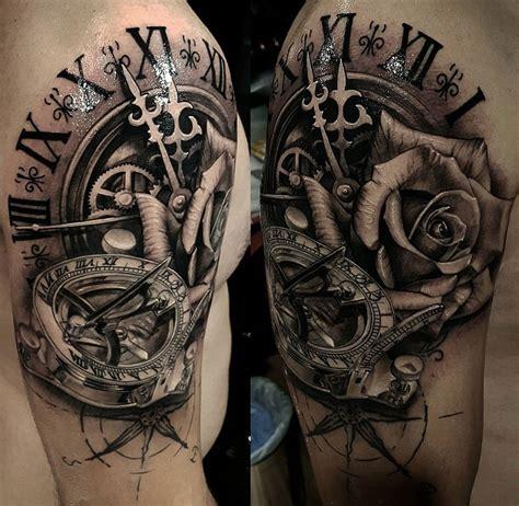 clock sundial compass rose mens shoulder piece  tattoo design ideas