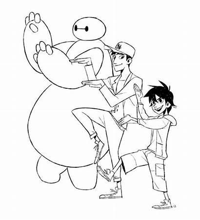 Hero Tadashi Baymax Hiro Coloring Six Pages