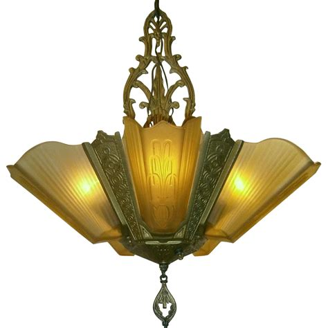 vintage 5 light slip shade chandelier by virden from