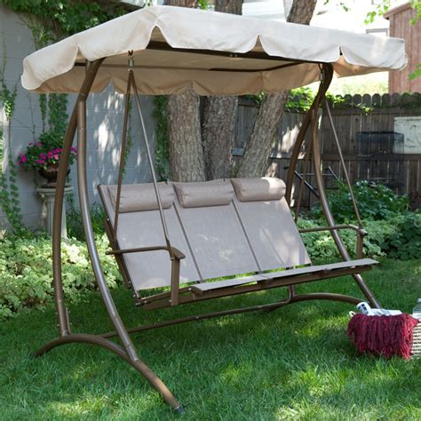 canap swing brown steel patio swing with three broken white seat