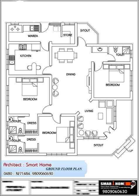 house floor plans kerala style single floor house plan at 1680 sq ft