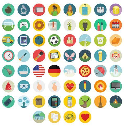 free flat round icons set