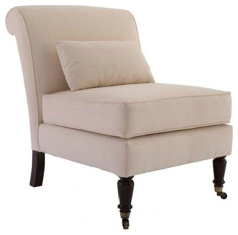 leyland armless chair with lumbar pillow traditional