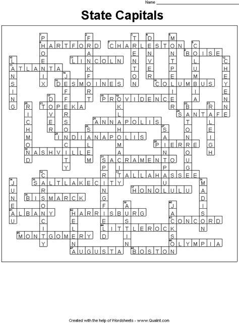 states  capitals crossword puzzle student writes