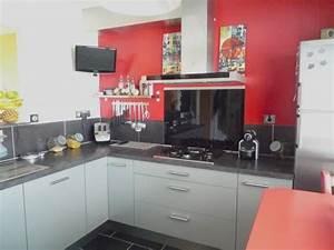 Cuisine rouge avec mur gris for Cuisine mur rouge et gris