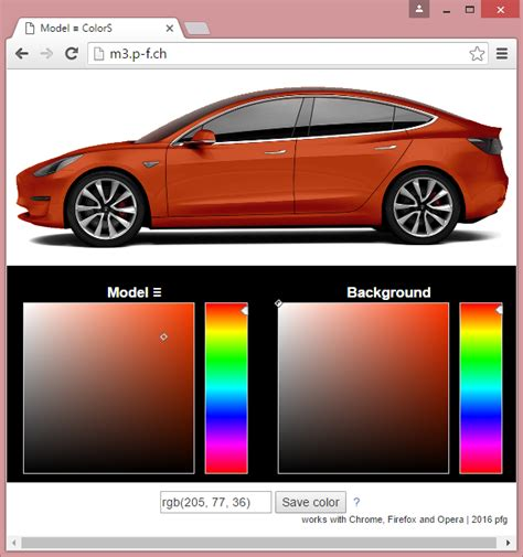interactive rgb paint color picker tesla model 3 owners club