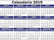 Spanish Calendar 2019 Horizontal Stock Vector