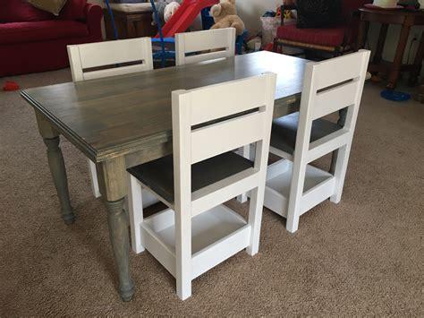 ana white childrens farmhouse table  storage chairs