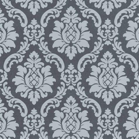 Tapisserie Gris Argent by Papier Peint Baroque Gris