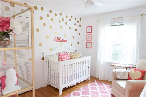 Marion's Coral And Gold Polka Dot Nursery  Project Nursery