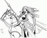 Coloring Pages Warrior Medieval Woman Princess Knight Archer Sucker Manga Books Sketch Female Colouring Drawings Armor Printable Times Tough Queen sketch template