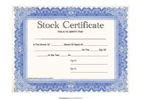 stock certificate templates word
