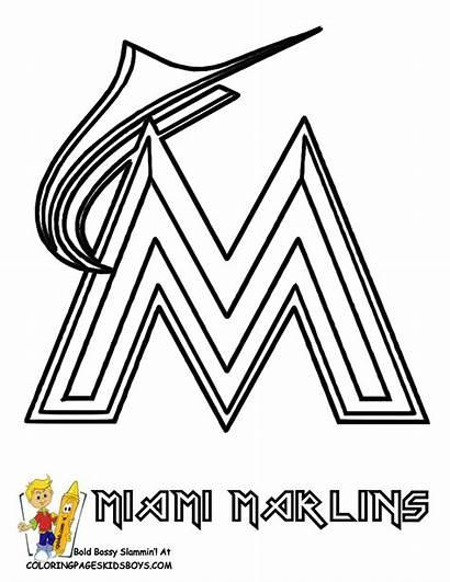 Coloring Baseball Marlins Pages Miami Printable Clipart