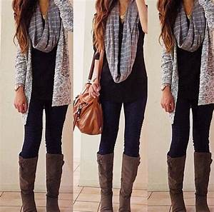 Leggings (or skinny jeans/pants) long top cardigan tall boots and an infinity scarf. My Fall ...