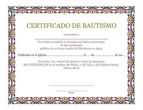 materiales de iglesia certificado de bautismo