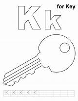 Key Coloring Pages Printable Alphabet Letter Practice Colouring Handwriting Template Sheets Keys Outline Preschool Letters Crafts Activities Worksheets Keyhole Clip sketch template