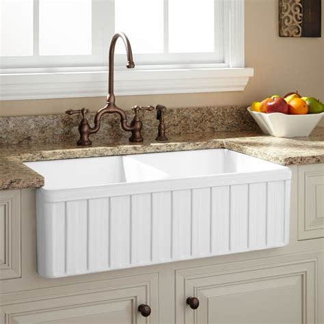 33 Oldham Double Bowl Fireclay Farmhouse Sink Fluted