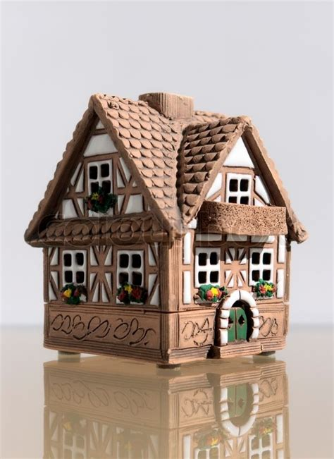 Ceramic House by Miniature Model Of A House From Ceramics Stock Photo