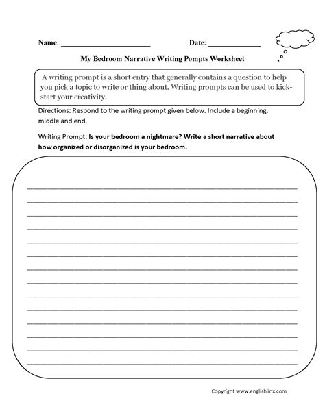 writing prompts worksheets narrative writing prompts
