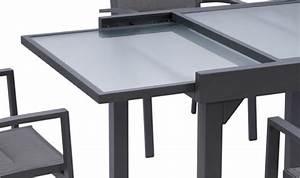 Table De Jardin Extensible : grande table de jardin extensible grise et plateau en verre opaque ~ Teatrodelosmanantiales.com Idées de Décoration