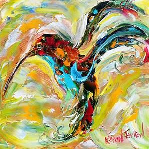 Bird Painting Original impasto abstract Hummingbird OIL