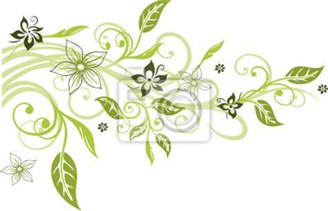 Blumenranke Grün Horizontal by Carta Da Parati Fiori Fiori Vite Foglie Fiori In