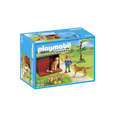 bureau playmobil playmobil country golden retrievers met puppy 39 s 6134