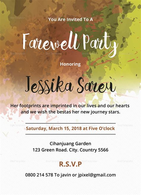 farewell party invitation design template  word psd