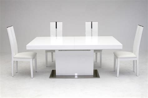 White Table by Modrest Zenith Modern White Extendable Dining Table