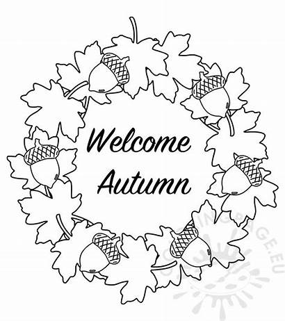 Autumn Welcome Leaves Wreath Coloring Banner Coloringpage