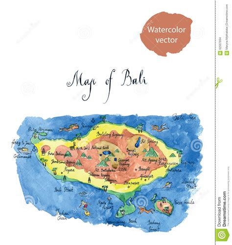map bali attractions stock vector illustration  capital