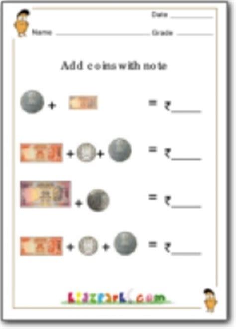 add coins  noteadding money math worksheetsteachers