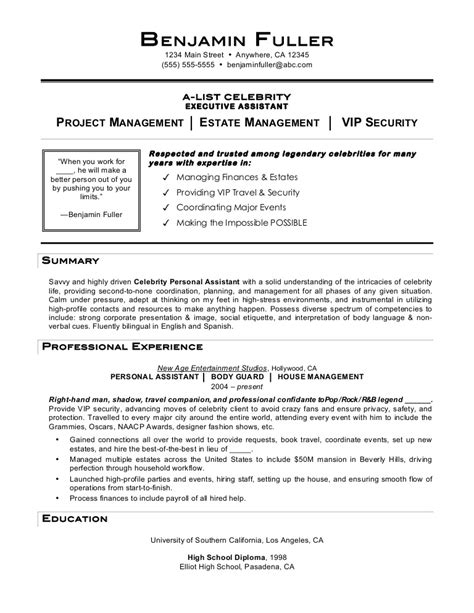 resume exle personal assistant resume exles