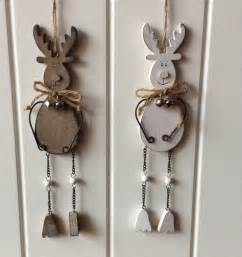 christmas decorations hanging wooden reindeer cute festive natural or cream ebay