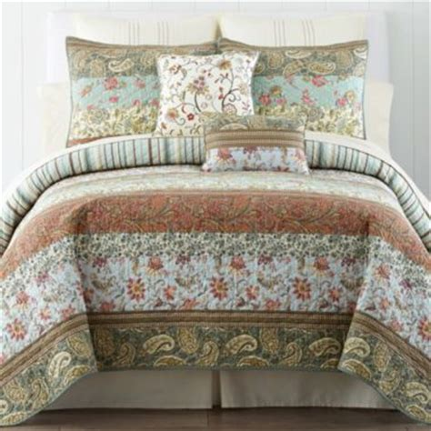 jcpenney bedspreads and quilts home expressions jacobean stripe quilt and accessories