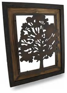 metal rustic finish tree silhouette on wood frame wall hanging eclectic decorative objects