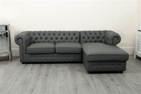 Chesterfield Corner Sofa Bed by Empire Chesterfield Corner Sofa Bed In Grey Pu Leather