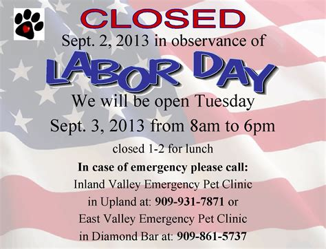office will be closed sign template pomona valley veterinary hospital