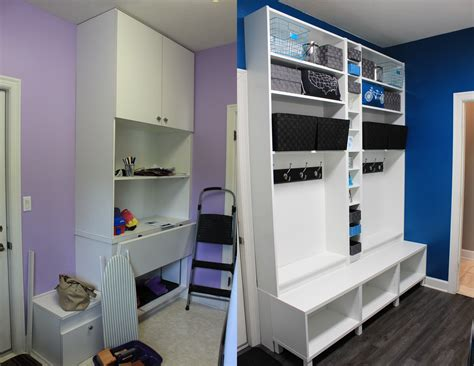 Before And After Ikea Mudroom Hack. Used Billy Bookcases Wooden Kitchen Island Table White Ideas Uk Worktops Sparkle Houzz Islands With Seating Unfinished Cabinets Breakfast Bar And Stools Small For Wall Color