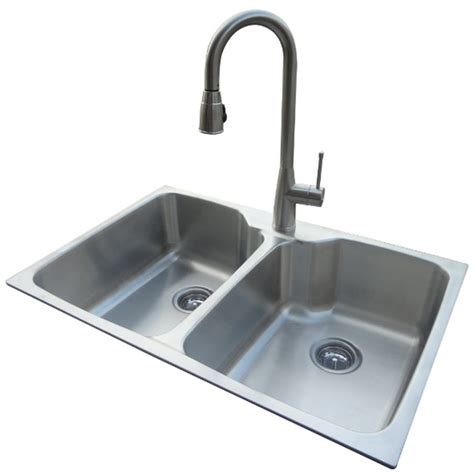 faucet placement for kitchen sink shop american standard 20 gauge double basin drop in or