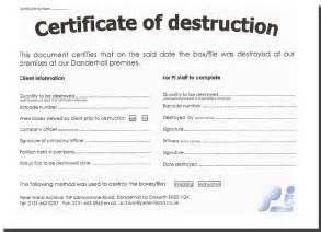 Certificate Of Destruction Template Template Design