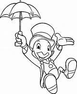 Coloring Pages Cricket Boys Jiminy Disney Cartoon Pinocchio sketch template
