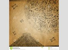 Mayan Calendar and pyramid stock illustration Image of