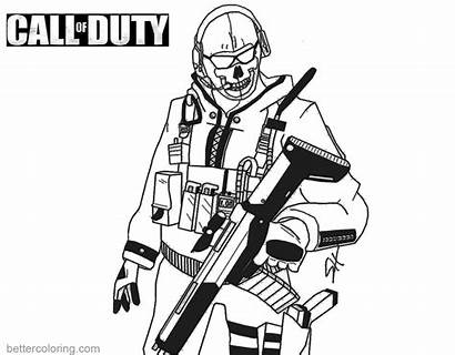 Duty Call Coloring Pages Ghost Printable Drawings