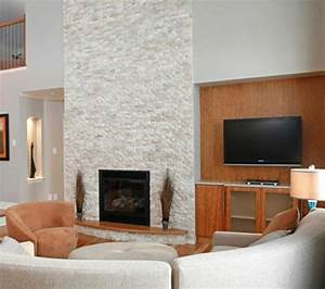 White, Stacked, Stone, Fireplace
