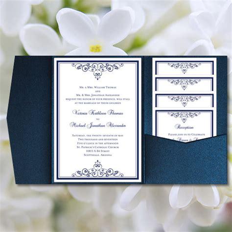 diy pocketfold wedding invitations quot vintage quot navy blue